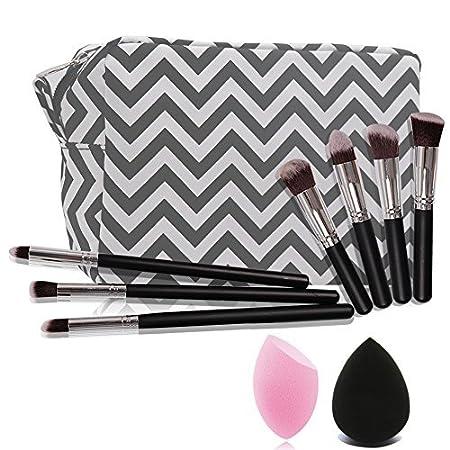 Travel cosmetic bag with 1pc blackBlender Sponge+1pc pink Blender Sponge+7pcs makeup brush set, (Mint)