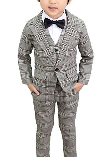 Boys Vintage Gray Plaid Suits 3 Pieces Jacket + Vest + Pants (8, Gray)