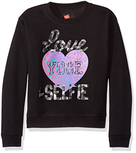 Hanes Big Girls' Ecosmart Graphic Fleece Sweatshirt, Black, ()