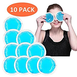 Round Gel Ice Packs Kids Cooling Fever Pad with Cloth Backing for Tired Eyes, Vaccination, Beauty Care, Wisdom Teeth, Headaches, Sinus, Sore Breastfeeding, etc, Hot Cold Compress, Blue, 10 Packs
