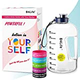 B4Life 1 Gallon Water Bottle with Time Marker, Motivational Wristband, Fitness Workout, Drink More Water Daily, Extra Large BPA-Free Water Bottle Leakproof with Flip Top-Blue
