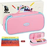 E4go Pencil Case - Large Capacity Pencil Bag With Zipper And High Grade Oxford Fabric 600D, Multifunctional As Toiletry Makeup Bag For Girls, Pink Color 8.7x4.2x2.2 Inches