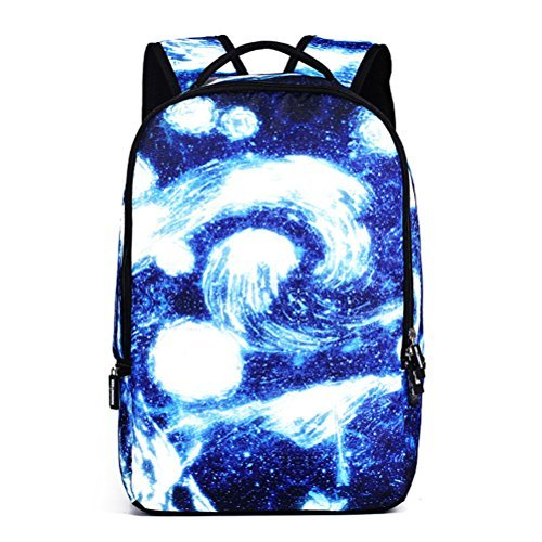 Women's Canvas Travel Bag Student Drawstring Bucket Backpack (Blue) - 4