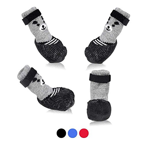 SMARTHING Dog Cat Boots Shoes Socks with Adjustable Waterproof Breathable and Anti-Slip Sole All Weather Protect Paws(Only for Tiny Dog) (M, Black)