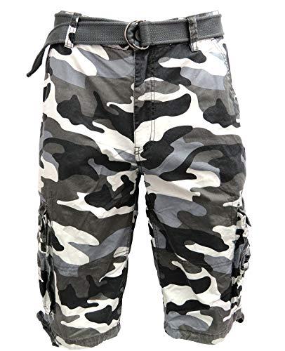 Tank Men's Light Twill Cargo Shorts, Camo Black, ()