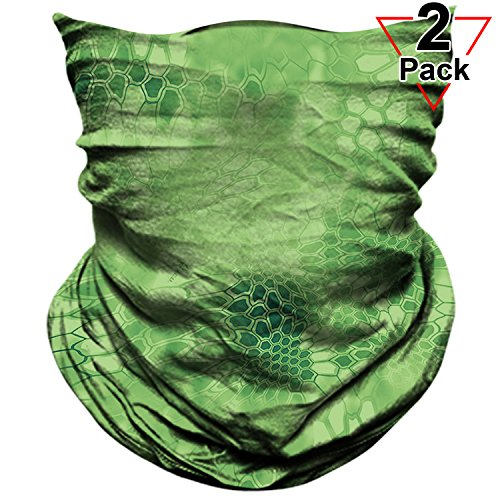 AXBXCX 2 Pack - Neck Gaiter Elastic Seamless Moisture Wicking Headband Bandana Face Mask Sun Protection Magic Scarf for Running Yoga GYM Hunting Tennis Fishing Riding Cycling Outdoor Sport Green (Crazy Bandanas)