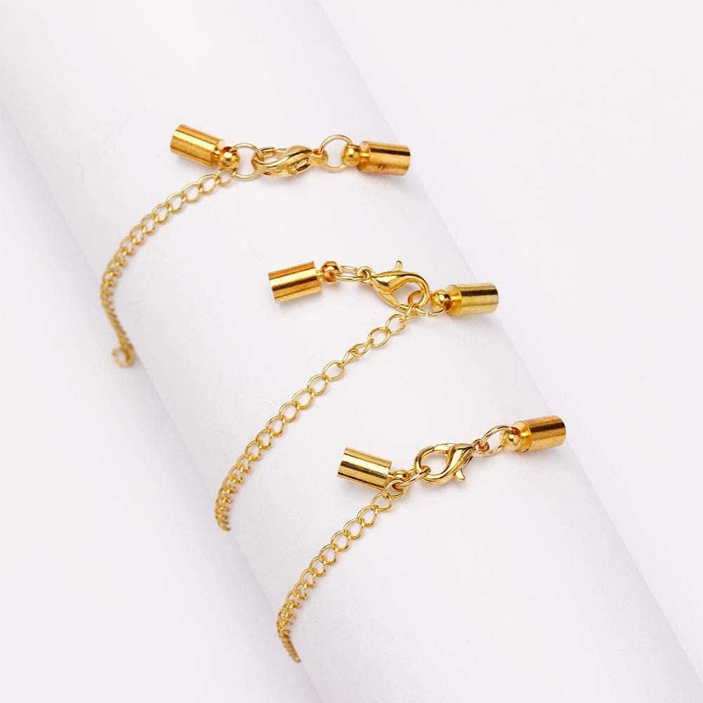 Gold, 3mm Forise 20pcs Leather Cord End Clasps Connectors with Lobster Clasp end caps Extender Chain for DIY Jewelry Making/Necklaces Bracelets