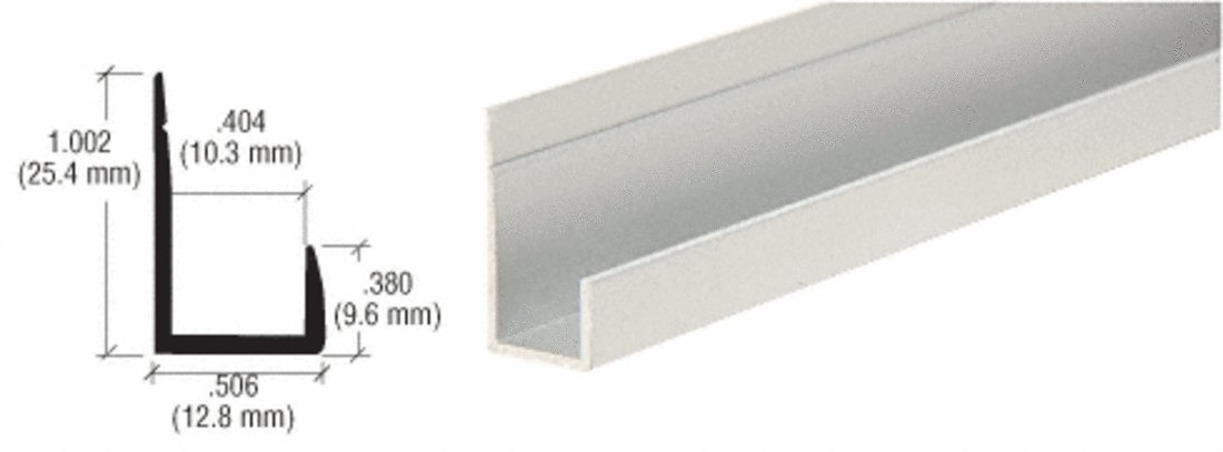CRL Satin Anodized Standard Aluminum 3/8'' ''J'' Channel - 12 ft Long