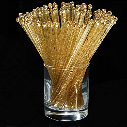 100 Pieces Disposible Plastic Round Top Crystal Swizzle Sticks -
