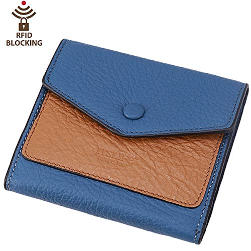 Itslife Women's Small Leather Wallet RFID Card Holder Mini Bifold Ladies Flat Pocket Purse (Natural Light Blue)
