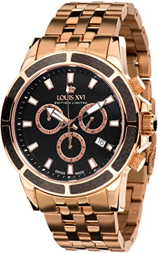 (Louis XVI Men's Watch Majesté l'acier l'or rosé Noir Swiss Made Chronograph Analog Quartz Stainless Steel Rosegold 466)