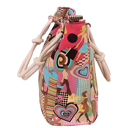 Bag Dating Gift Shopping Tote amp;DX Women's Large Multicolored Style Picnic Handbag Canvas HM Bag A Camping Hobo Floral Grocery TX677