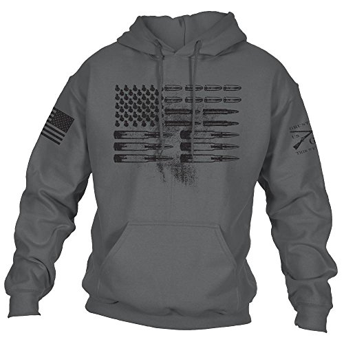 Grunt Style Ammo Flag 2.0 Hoodie, Color Charcoal, Size Large by Grunt Style
