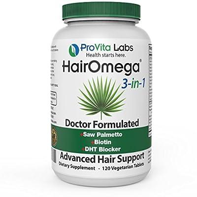 HairOmega 3-in-1 Hair Skin and Nails with DHT Blocker, Biotin Hair Growth Supplement | Hair Loss Vitamins