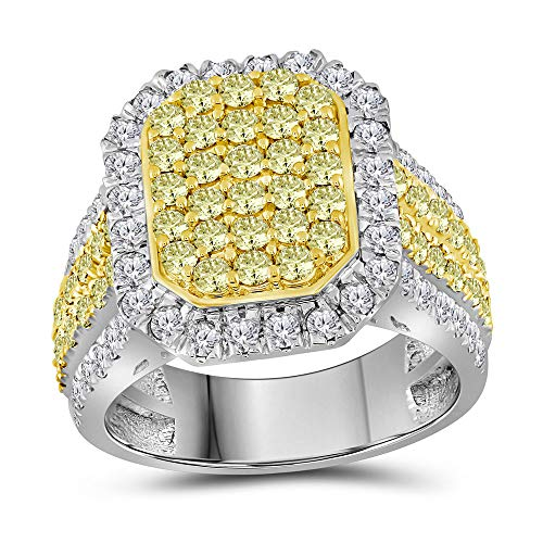 14k White Gold Yellow Diamond Cluster Ring Fashion Band Cocktail Style-1/3 ct