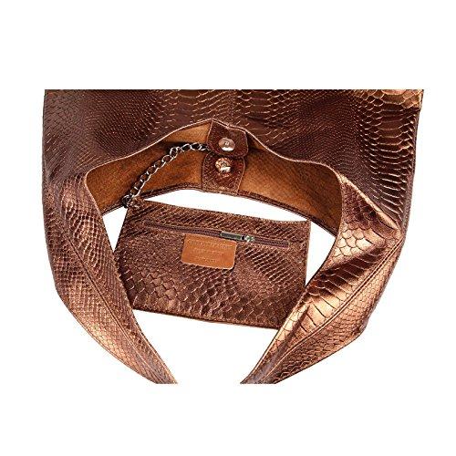 Only Bleu Ca Cm wildleder beautiful 43x32x17 schlange Dunkelblau Obc Pour Cabas Bronze Femme couture bxhxt 41xdFwq