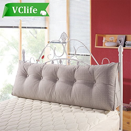 VClife Cotton Linen Filled Triangular Wedge Cushion Bed Backrest Positioning Support Pillow Reading Pillow Home Office Lumbar Pad with Removable Cover, (Cotton Wedge Bed)