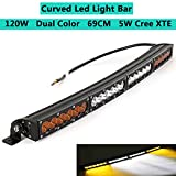 Dual Color Curved LED Light Bar 28inch 120W Off-road Light Bar White Amber Yellow Spot Flood Combo Beam LED Work Diving Light for Off Road Driving Fog Work Light Jeep SUV 4x4WD Pickup & Wire Harness