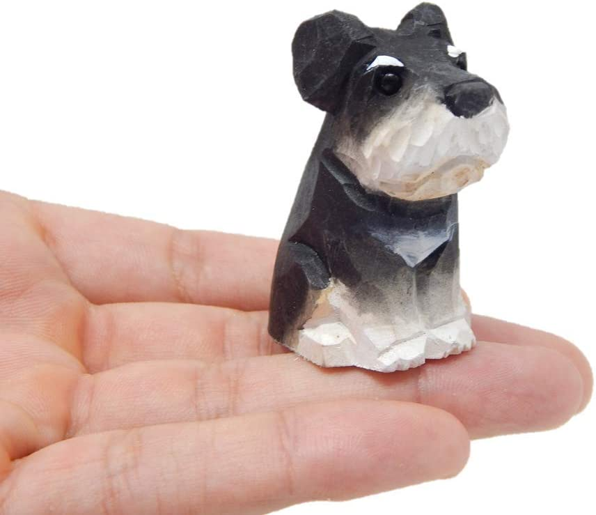 Dog Puppy Figurine - Miniature 2 Inch, Wooden, Carving, Hand-Made, Home Decor, Small Animals, Toy, Pet Canine Hound