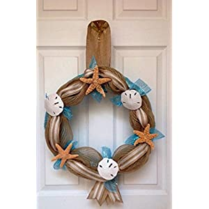 Beach Seashore Door Welcome Wreath. Real Sand Dollars & Starfish! Slim 7