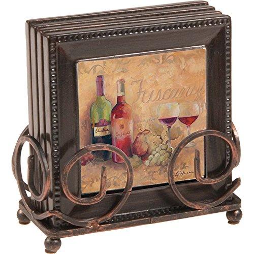 Thirstystone 4-Piece Tuscany Coaster Set with Holder - Tuscany Home Furnishings