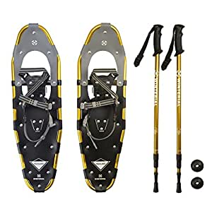 Winterial Highland Snowshoes, Recreational Snow Shoes/Adult/Backcountry/Rolling Terrain Snowshoes/POLES INCLUDED!