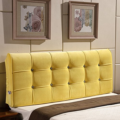 YXCSELL Large Upholstered Headboard Filled Triangular Soft Wedge Cushion Backrest Positioning Support Reading Pillow Lumbar Pad for Sofa Bed with Removable Cover Yellow 47 Inches by YXCSELL