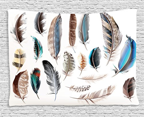 Ambesonne Feather House Decor Tapestry, Western Feather Setting Pigmented Bird Body Parts Growth Nature Art Design, Wall Hanging for Bedroom Living Room Dorm, 60 W X 40 L Inches, Multi
