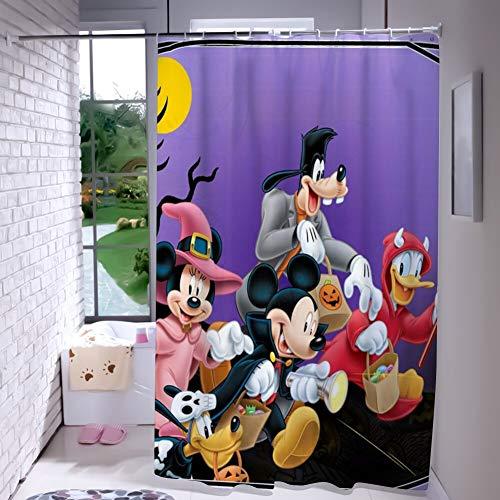 DISNEY COLLECTION Shower Curtain 72X72 Inch Halloween Mickey Mouse and Minnie Mouse Goofy Donald Duck Pluto Disney Halloween Wallpaper Bathroom Cartoon Cute