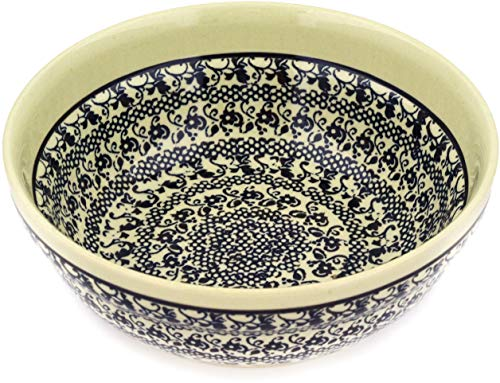 (Polish Pottery 6½-inch Bowl (Black Lace Theme) + Certificate of Authenticity)