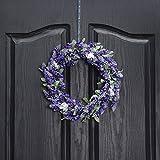 QUNWREATH Handmade 11 inch Lavender Series Wreath,Fall Wreath,Wreath for Front Door,Rustic Wreath,Farmhouse Wreath,Grapevine Wreath,Light up Wreath,Everyday Wreath,QUNW09