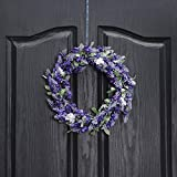 QUNWREATH Handmade 11 inch Lavender Series Wreath,Fall Wreath,Wreath for Front Door,Rustic Wreath,Farmhouse Wreath,Grapevine Wreath,Light up Wreath,Everyday Wreath,QUNW09