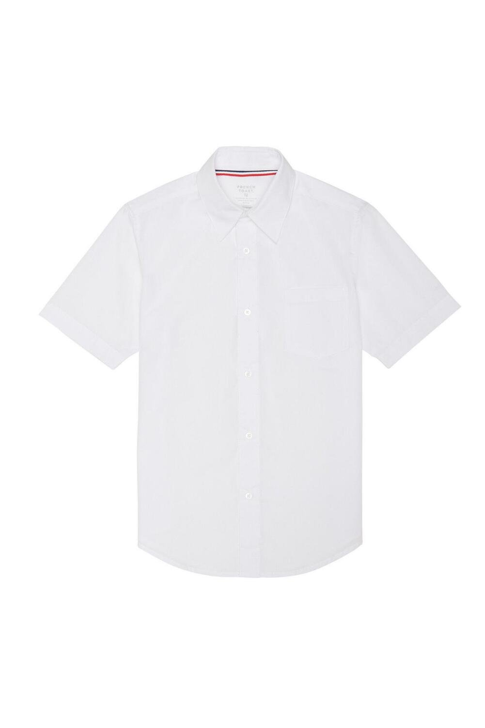 French Toast Big Boys' Short Sleeve Poplin Dress Shirt, White, 8