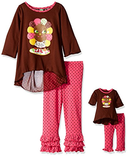 - Dollie & Me Big Girls' Knit Hi-Low Turkey Screen Printed Tunic with Knit Polka Dot Ruffle Legging, Brown/Pink, 10