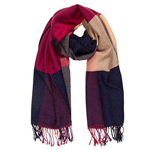 Scarf for Women: Elegant Checker Plaid Reversible Soft Cashmere Feel Scarves For Spring Winter Shawl Wrap (Navy Beige)