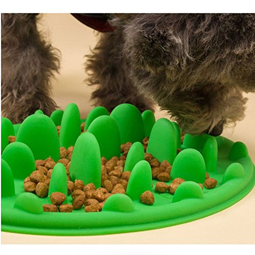 Freshlove Slow Pet Feeder Anti-choke Pet Bowl for Feeding Dogs & Cats - Green(25 * 18cm) (18 Bowl Cm)