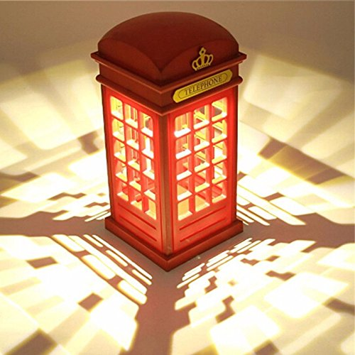 Lampada Notturna Cabina di Telefono di Londra Vintage di Notte Luminosit/à Regolabile USB Ricarica per Camera da Letto Studenti Dormitorio Home Bar decorazione