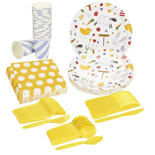 Easter Party Supplies - Serves 24 - Includes Plastic Knives, Spoons, Forks, Paper Plates, Napkins, and Cups -