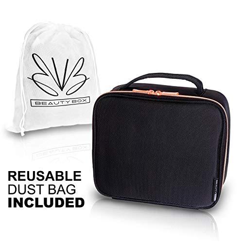 d31ca617d64 Travel Makeup Bag - Premium Designer Cosmetic Bag with Rose Gold Zipper and Adjustable  Dividers - Makeup Case ...