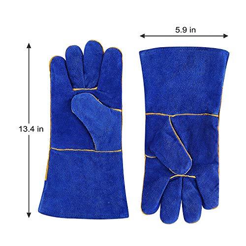 DEKO Guantes de soldadura Forrados en cuero resistente al calor, Azul, 14 pulgadas para Mig, Soldadoras Tig, BBQ, Jardinería, Camping, Estufa, Chimenea y ...