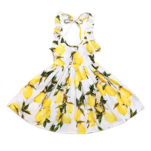 1900 Costumes For Sale (Bambidefoe Toddler Girls Dress NEW Summer Beach Style sleeveless Princess Party and Wedding Costume Lemon Printed Kids Dresses for Girl as picture 5)