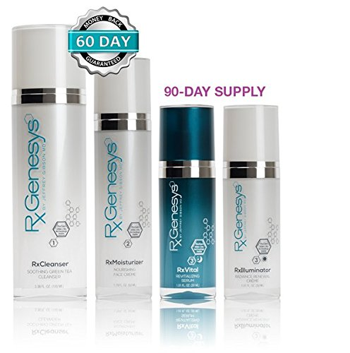 RxGenesys Stem Cell Anti Aging Beauty System with Hyaluronic Acid, Stem Cell Skin Care, 4 Piece (Best Anti Aging Routine)