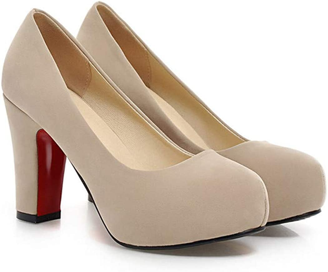 BestLifes High Heels Women Party Shoes Pumps White Shoes Thick High Heel Round Toe Shoes Ladies