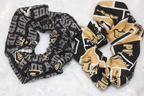 - Set of 2 Purdue Boilermakers Hair scrunchies College NCAA Black Gold White scr52#ID-2005