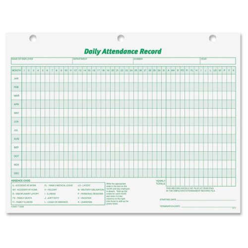 TOPS Daily Attendance Record, 8.5 x 11 Inches, 50 Loose Forms per Pack (3284)