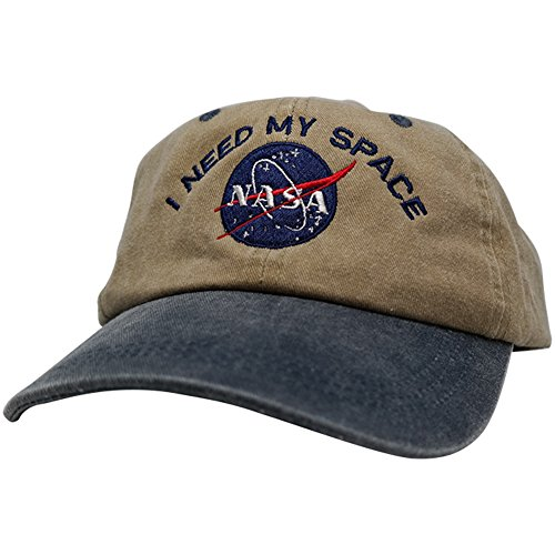Armycrew NASA I Need My Space Embroidered Two Tone Pigment Dyed Cotton Cap - Khaki Navy