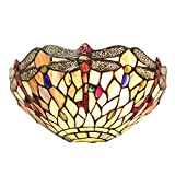 Tiffany Stained Glass Dragonfly Style Shade 1 Light Wall Sconce Light Fixtures for Hallway Lighting Kitchen Island Dining Room or Living Room by Lucidce
