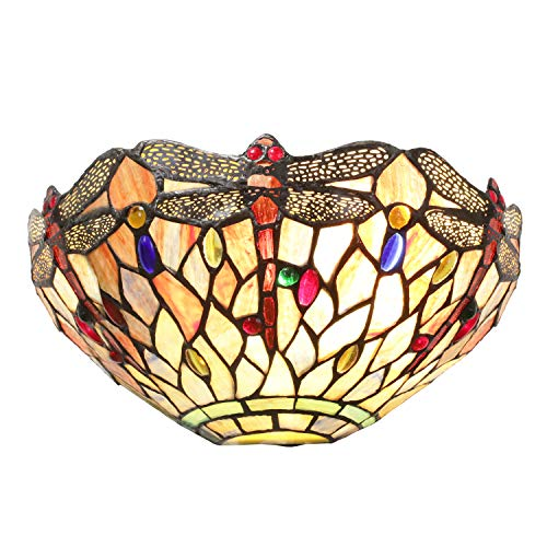 Tiffany Stained Glass Dragonfly Style Shade 1 Light Wall Sconce Light Fixtures for Hallway Lighting Kitchen Island Dining Room or Living Room by Lucidce (Tiffany Style Lighting Kitchen)