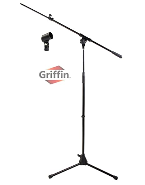 Microphone Stand with Telescoping Boom and Mic Clip Package by Griffin |  Tripod Premium Quality for Studio, Karaoke, Live Performances, Conferences  |