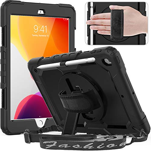 Timecity New iPad 10.2 Case 2019 (iPad 7th Generation Case) with Screen Protector Pencil Holder Rotating Kickstand Hand/Shoulder Strap.Rugged Durable Protective Tablet Cover for iPad 10.2 inch-Black